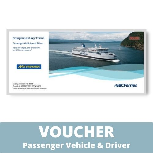 BC Ferries Travel Voucher - Vehicle & Driver Voucher - One Way Fare